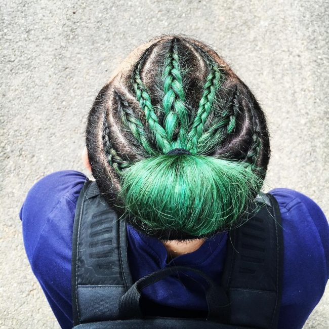 Coloured and Braided Bun for men