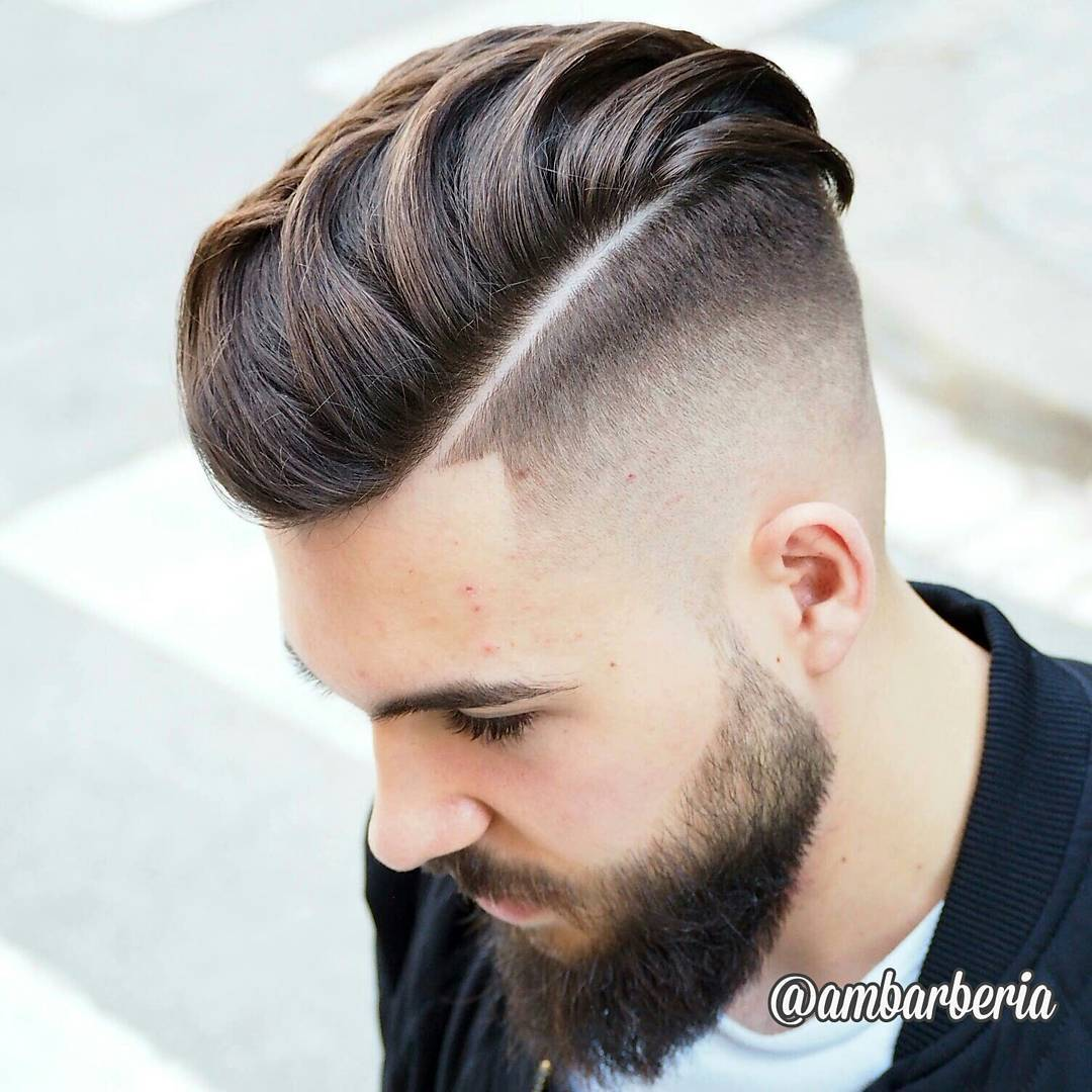Hard Part Pompadour Undercut Hairstyle