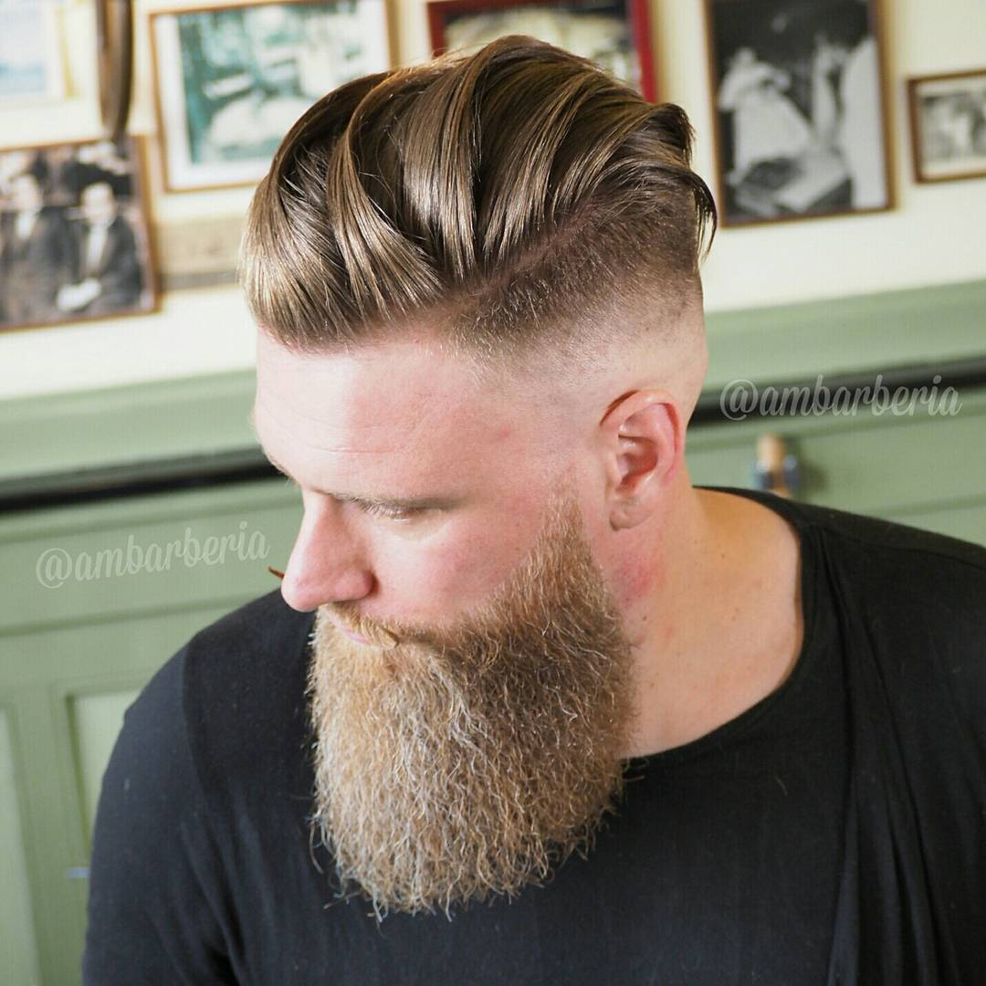 Long Hair With Beard Undercut Hairstyle
