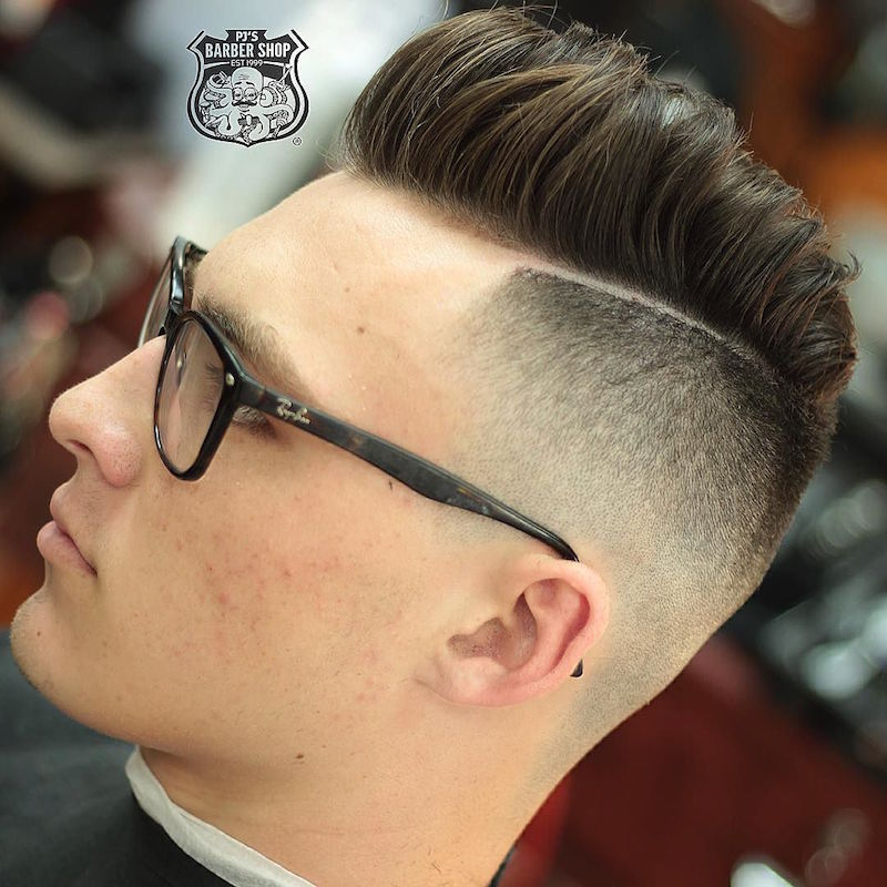 Medium Length Pompadour + Hard Part