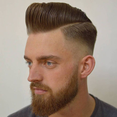 Modern Pompadour With Thick Beard