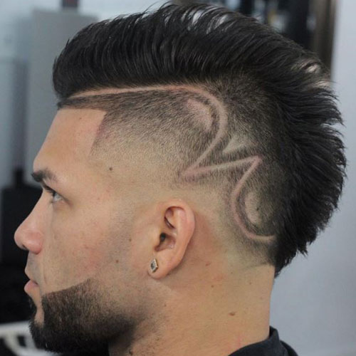 High Fade Mohawk with Designs