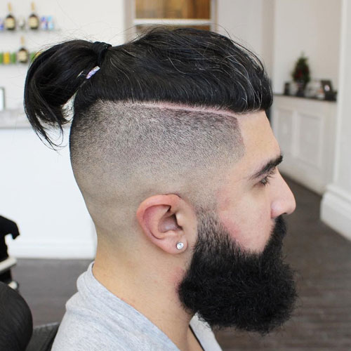 Shaved Sides With Topknot