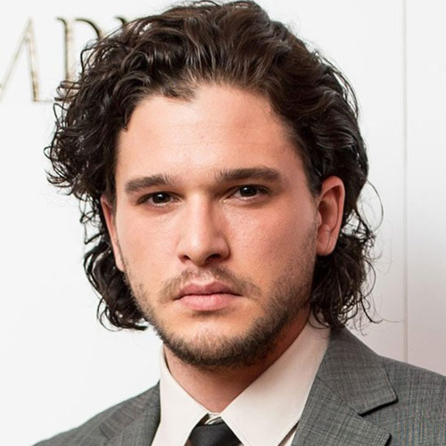 Kit Harington Curly Medium Length Hairstyle