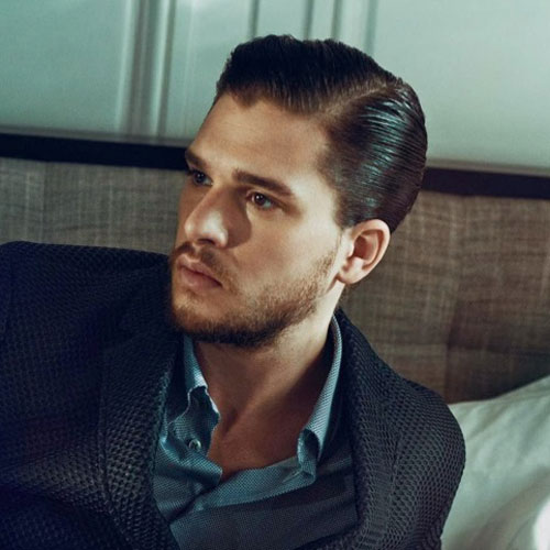 Kit Harington Hard Side Part Slick Sides Hairstyle