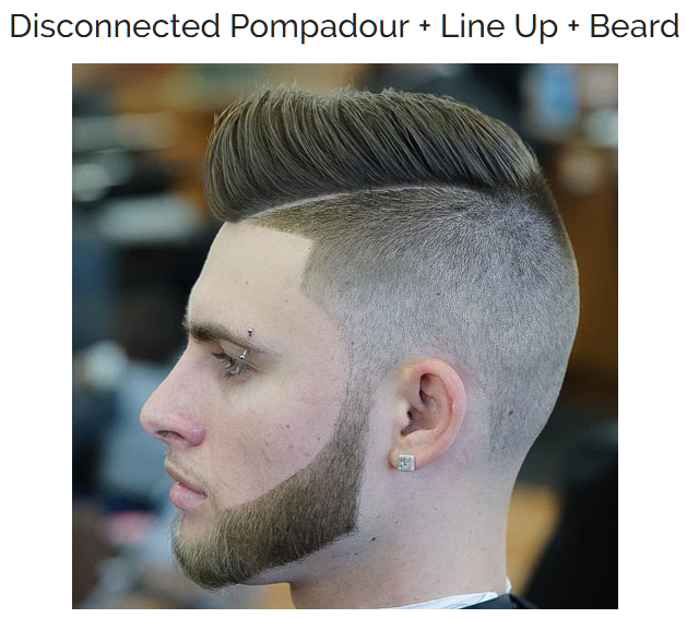 Disconnected Pompadour with line up and beard