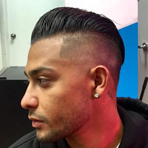 HIGH FADE + LINE UP + POMP COMB OVER