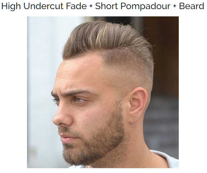 High Undercut Fade with Shot Pompadour and Beard