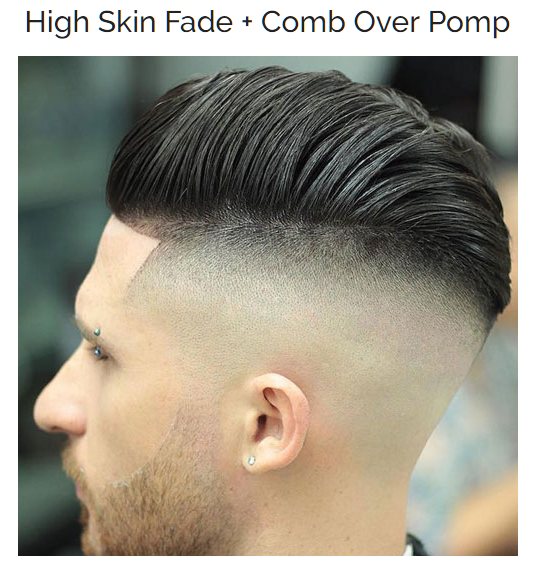 High skin Fade with Comb Over Pomp