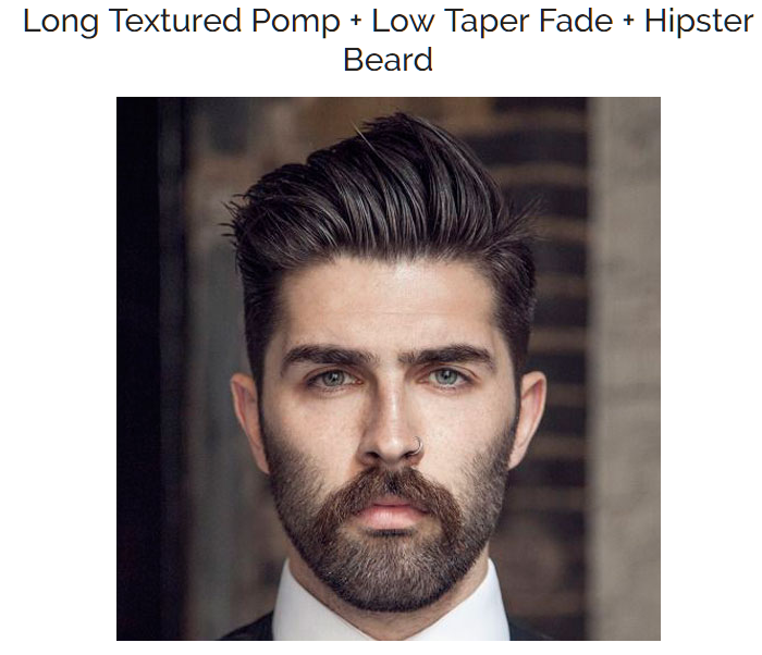 Long Textured Pomp with Low Taper Fade and Hipster Beard