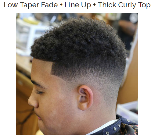 Low Taper Fade with Line Up and Thick Curly Top