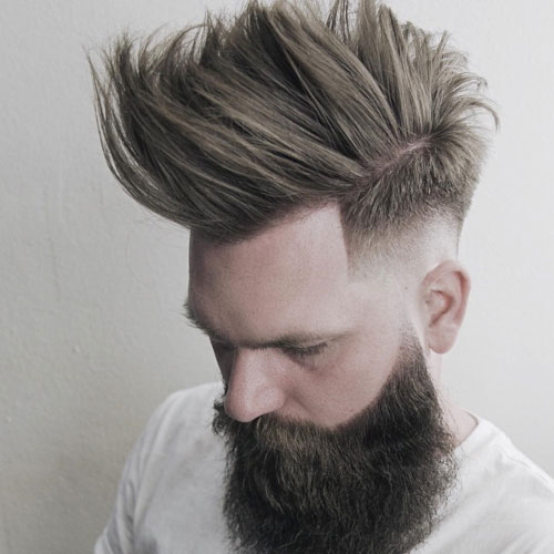 MEDIUM BALD DROP FADE + LONG FAUX HAWK + FULL BEARD