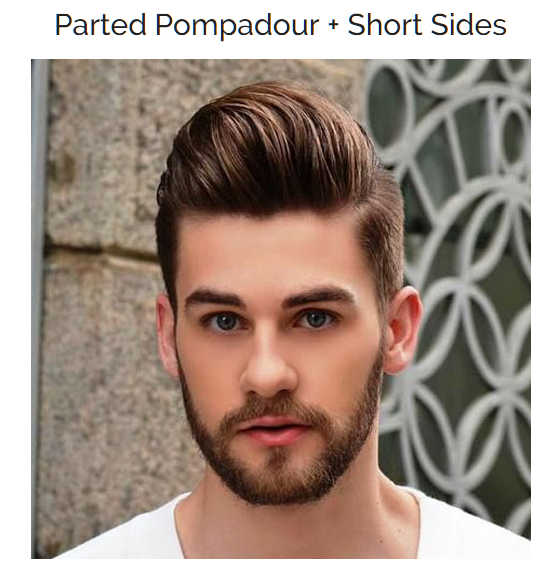 Parted Pompadour with Short Sides
