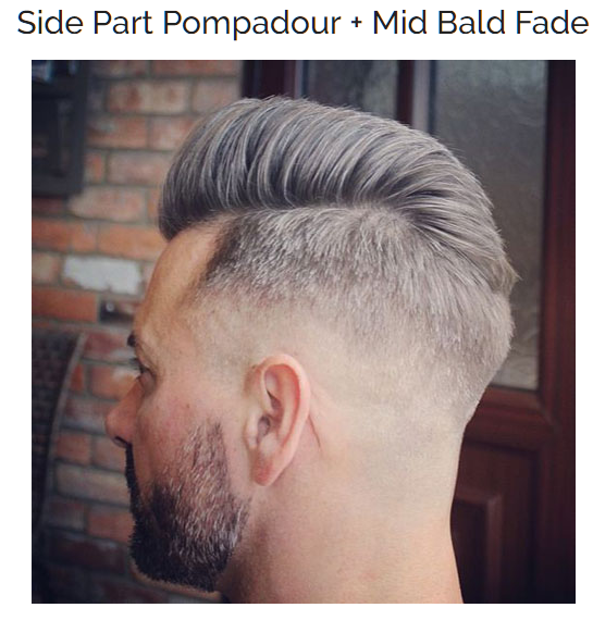 Side Part Pompadour with Mid Bald Fade