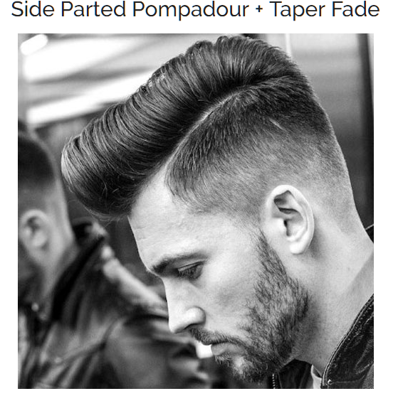 Side Parted Pompadour with Taper Fade