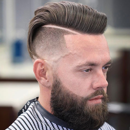 UNDERCUT + HARD PART COMB OVER + COOL BEARD DESIGN