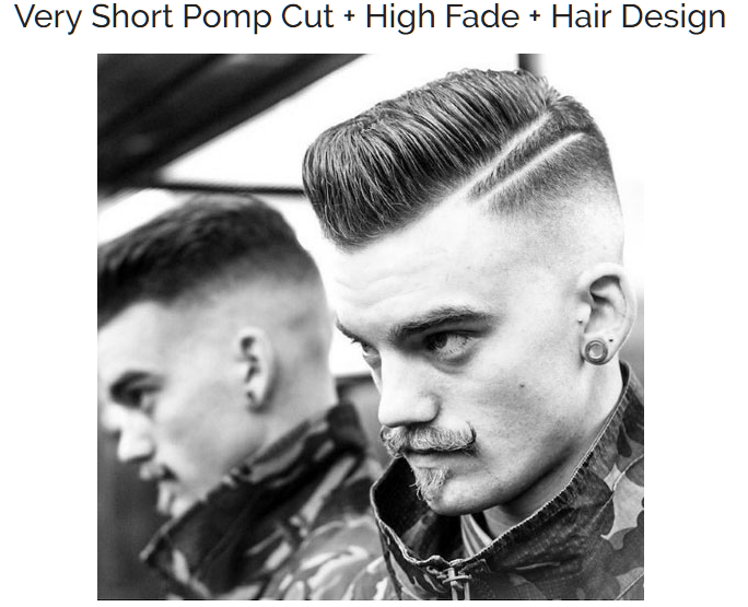 Very Short Pomp Cut with High Fade and Hair Design