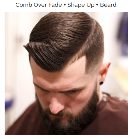 comb over fade with shape up and beard