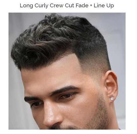 long curly crew cut fade with line up