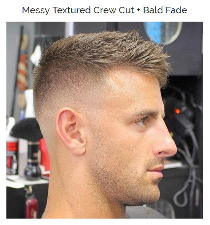 messy textured crew cut with balde fade
