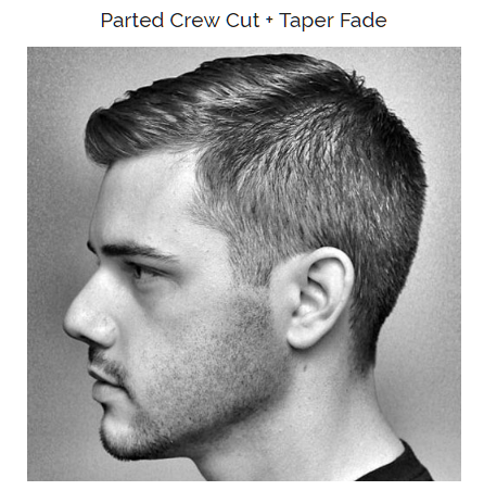 parted crew cut with taper fade