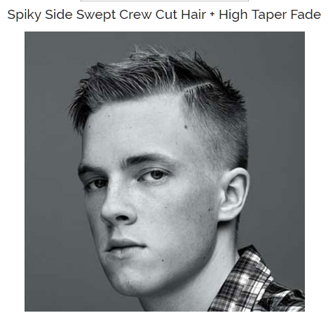 spiky side swept crew cut hair with high taper fade