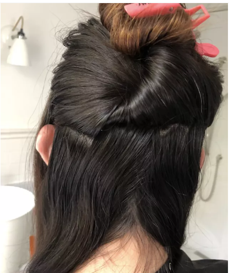 Clip the upper hair with a clip